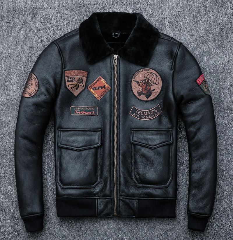 Bombardeiro jaqueta de couro shearling b3 piloto jaqueta de couro pele ovelha b3 casaco de couro