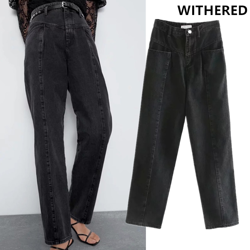 Withered England Style High Street Straight Regular Vintage Mom Jeans Woman High Waist Jeans Splicing Boyfriend Jeans For Women