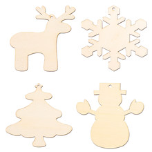 16pcs Sneeuwvlok Herten Sneeuwpop Kerstboom Decoraties Ornamenten Uitsparing Veneers Plakjes Patchwork DIY Crafting Opknoping Hout Tag(China)