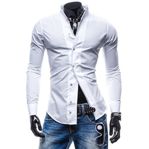 Мужская хлопковая рубашка Zogaa, повседневная приталенная рубашка с длинным рукавом в современном деловом стиле, весна 2019