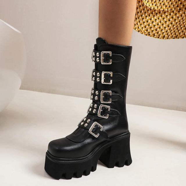Fanyuan/большой выбор в стиле панк ботинки до середины икры