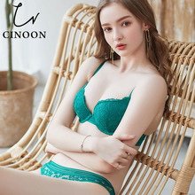 CINOON New Womens underwear Set Push-up Bra And Panty Sets Comfortable Brassiere Gather Sexy Embroidery Lace Lingerie