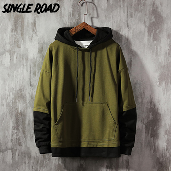 SingleRoad Oversized Mens Hoodies Men 2020 Autumn Patchwork Sweatshirt Hip Hop Japanese Streetwear Harajuku Green Hoodie Men naruto hoodie men japanese streetwear mens hoodies hip hop hoody sweatshirt men hoodies sweatshirts 2019 autumn cartoon hoodies