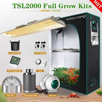 Mars Hydro TSL 2000W Led Grow Light and 120x60x180 CM Indoor Tent Filter Timer Hydroponics System Kits For Plants Seed Flower