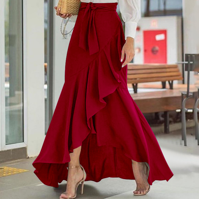 Women Fishtail Maxi Skirt Celmia 2021 Summer High Waist Belted Casual Loose Party Skirts Fashion Ruffles Skirts Robe Plus Size