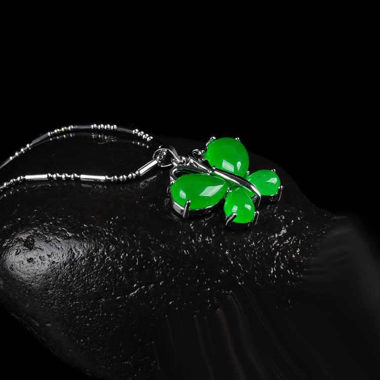 自然の緑のヒスイの蝶のペンダントチャームジュエリーファッションアクセサリー手彫り男 ahd 女性幸運お守り Gifts10pcs