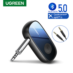UGREEN Bluetooth Receiver aptX LL Wireless Bluetooth 5.0 Car Adapter Portable Wireless Audio Adapter 3.5mm Aux with Microphone
