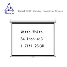 Thinyou Wall Mount 84 inch 4:3 Matte White Manual self-locking Projector Screen Pull Down pantalla proyeccion For Cinema Office
