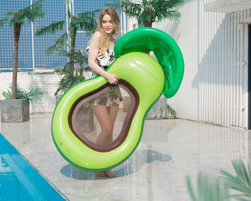 Inflatable avocadoWater adult recliner inflatable net floating Swimming Mattress sea swimming ring Pool Party Toy lounge bed swi 4