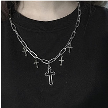 stainless steel double layer round necklace punk link chain circle pendant necklace hip hop women men fashion gothic jewelry men and women Hip hop cross Pendant Necklace Cable chain alloy stainless steel Punk Large Necklace Hip hop Men's Necklace