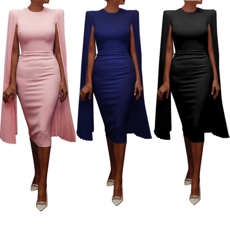 Women Bandage Bodycon Casual Sleeve Evening Party Cocktail Club Dress Fashion Fashion Solid Color Ladies Dress Shawl Cape