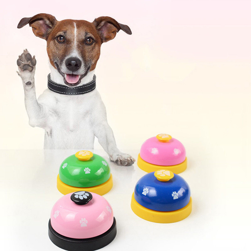 1pc Dog Training Bell Paw Print Pet Dinner Bell Dog Training Clicker Puppy Cat Dinning Call Ring Pet Training Playing Toys-5
