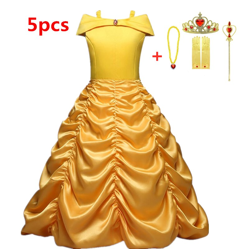 Girls Dress Summer Beauty And Beast Belle Princess Dresses For Girls Halloween Carnival Party Costume Cosplay Children Clothing