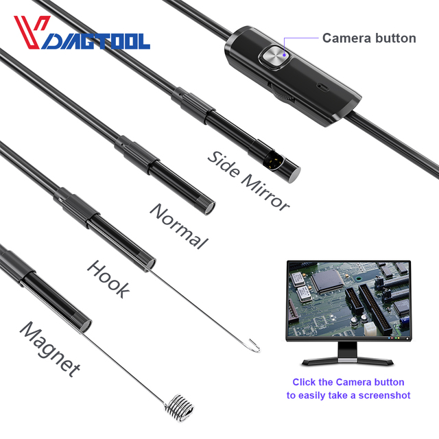 Vdiagtool Endoscope Camera 5.5mm 7mm 8mm IP67 Waterproof 6 LED Borescope Car Inspection Camera For Android Loptop 4