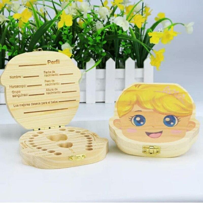 New Wooden Baby Teeth Box English/Spanish/French/Russian/Italian /Dutch Teeth Umbilical Lanugo Organizer Gift Keepsakes Save