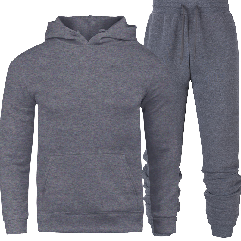 Solid Color Men's Sportswear Sets 2019 Autumn Winter Hooded Thick Male Casual Tracksuit Men 2 Piece Sweatshirt + Sweatpants Sets