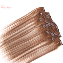 Yesowo Free Shipping 4/27/4# Human Hair Clip In Extensions Highlights With 18 Clips 14Inch 24Inch Remy Clip In Hair Extension