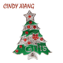 CINDY XIANG Rhinestone Christmas Tree Brooches For Women Enamel Pin Fashion Brooch Party Festival Accessories High Quality New
