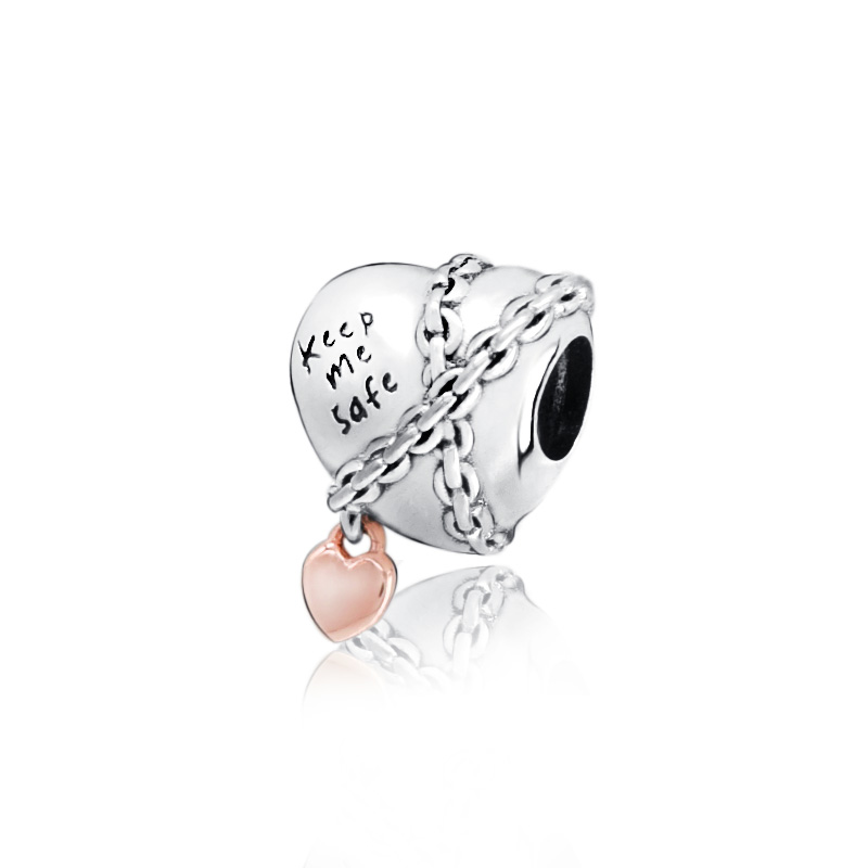 Женские браслеты Pandora, серебряные бусины 925 пробы Подвески в виде сердца с цепочкой, оригинальные ювелирные украшения для самостоятельного ...