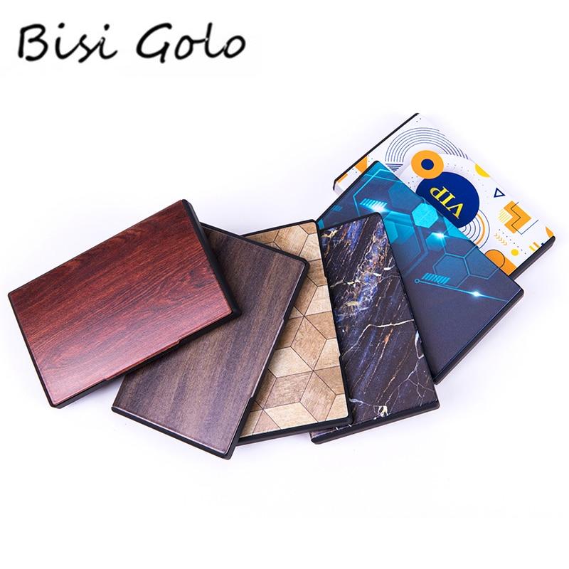 BISI GORO RFID Blocking Smart Wallet Metal Business Card Box 2020 Fashion Name Card Case Different Pattern Credit Card Holder