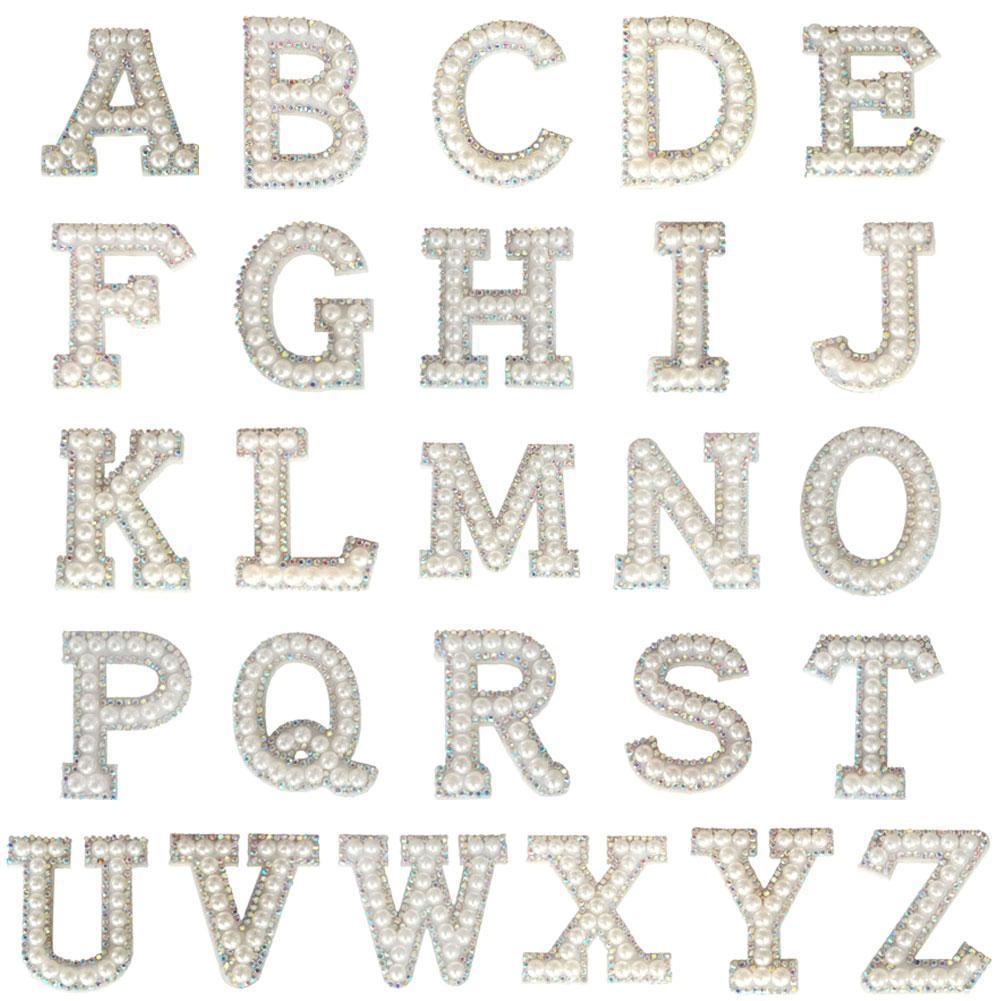 Handmade Letter Cloth Stickers Patches On Clothes Applique Letter Glue Gold Patches Pearl Rhinestone Without S8F9