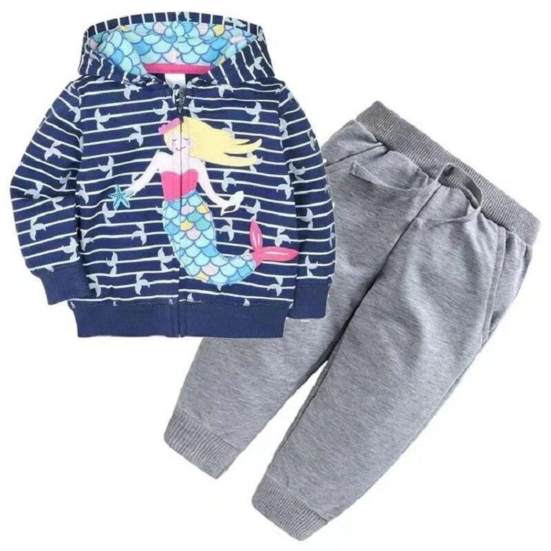 Одежда для маленьких девочек пальто с капюшоном с длинными рукавами и вышитым единорогом+ штаны, г. Весенняя одежда для маленьких мальчиков комплект для малышей, одежда для малышей - Цвет: 4