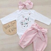 Одежда для новорожденных комбинезон с длинными рукавами и рисунком кролика для маленьких девочек, футболка + розовые штаны с бантом для дев...