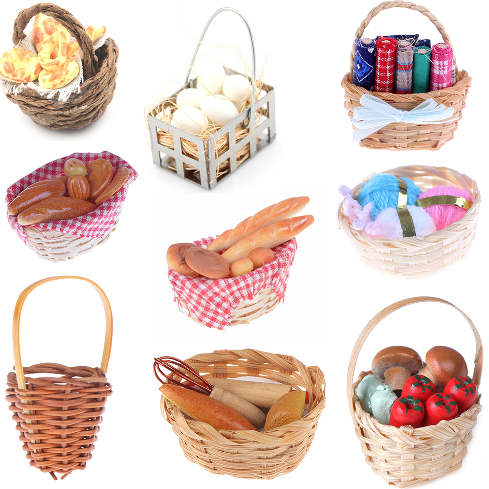 New Trash Cans Bath Fruit Bamboo Bread Toast Hot Dog Egg Sewing Tools Weaving Storage Basket Dollhouse Furniture Toys
