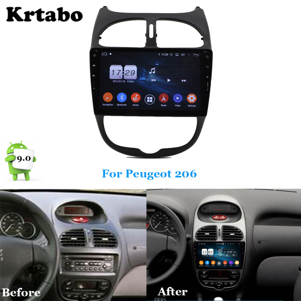 Car radio Android multimedia player Octa Core 4G RAM For <font><b>Peugeot</b></font> <font><b>206</b></font> PG206 Car touch <font><b>screen</b></font> GPS Support Carplay Bluetooth image