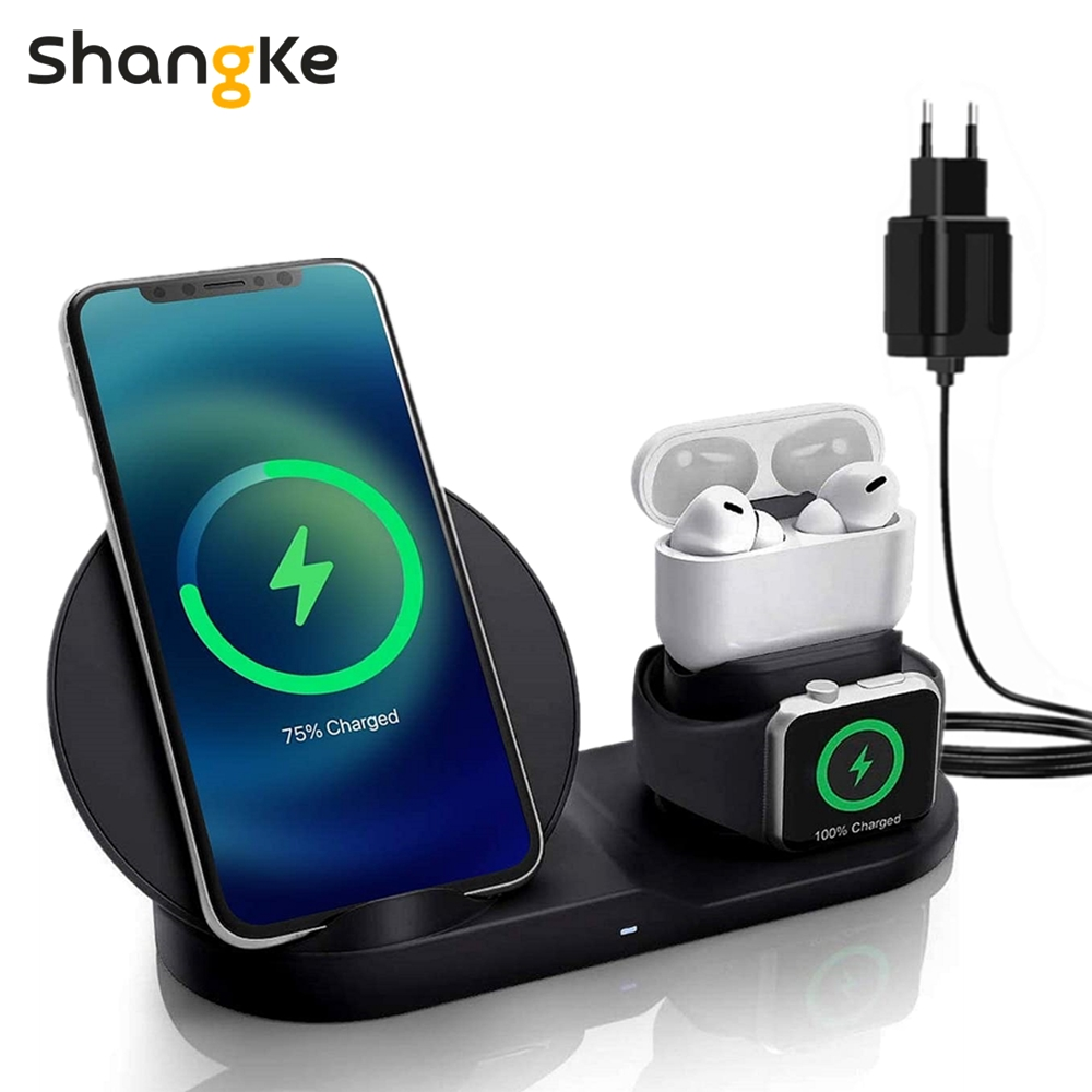 3 in 1 Fast Wireless Charger Dock Station Fast Charging For iPhone 12 12 Pro SE 11 XR XS for Apple Watch 2 3 4 5 For AirPods Pro Wireless Chargers  - AliExpress