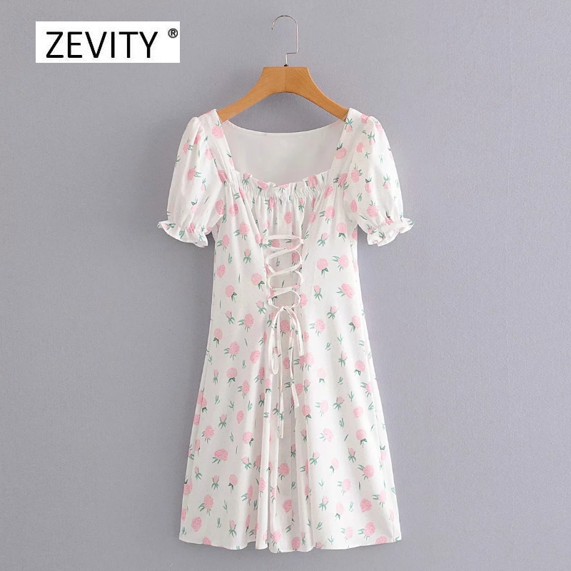 New Women sweet agaric lace square collar pink flower print bandage mini dress Ladies puff sleeve vestidos chic Dresses DS4050