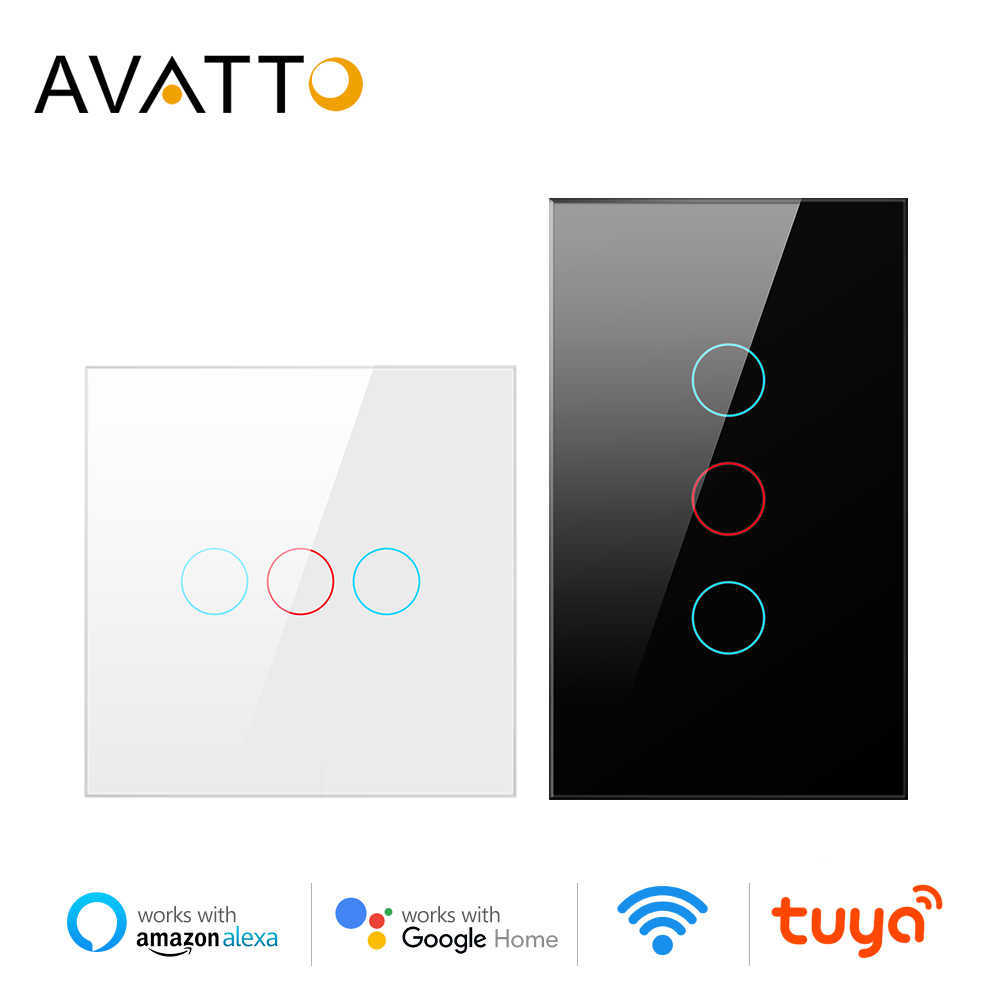 AVATTO Tuya WiFi Smart Lampu Switch dengan Luxuray Panel Kaca, touch Sensor Smart Wall Switch Suara Bekerja dengan Alexa, Google Home