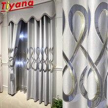 Luxo geométrico oco onda cortinas para sala de estar moderna semi-blackout cinza curva janela cortinas para o quarto # rx