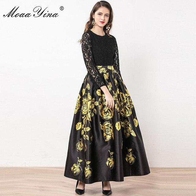 MoaaYina Fashion Designer Dress Summer Women Long sleeve Lace Patchwork Floral Print Ball Gown Elegant Dress