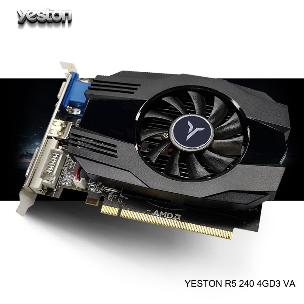 Yeston Radeon R5 240 GPU 4GB GDDR3 64bit ordinateur de bureau cartes graphiques vidéo de jeu prise en charge VGA/DVI-D/HDMI