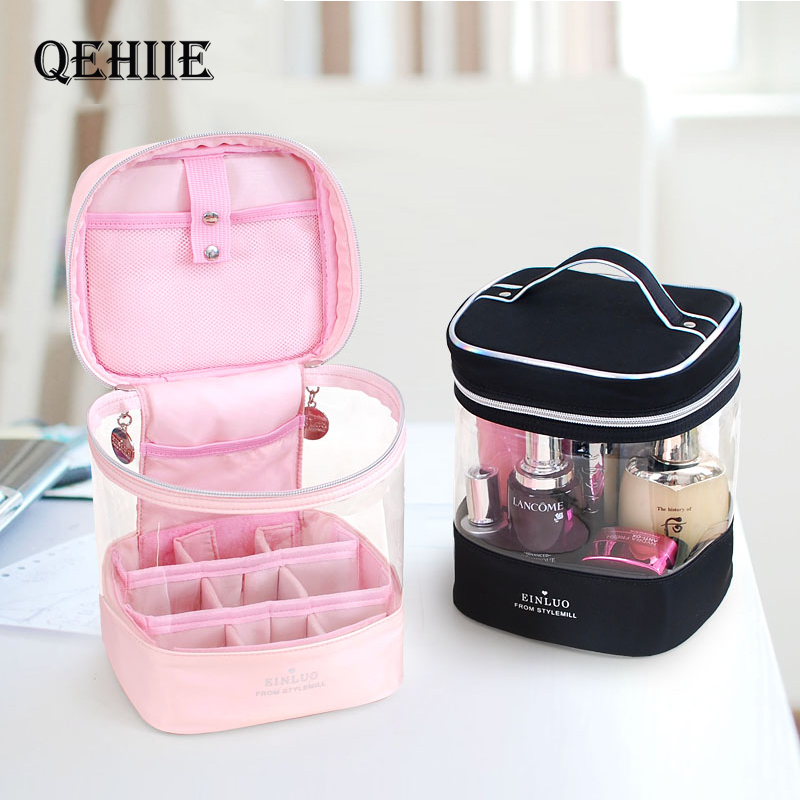 Cylinder Toiletry Cosmetic Bags Travel Big Capacity Clear Makeup Bag Cosmetic Case High Quality Woman Hand Carryup Organizer Bag