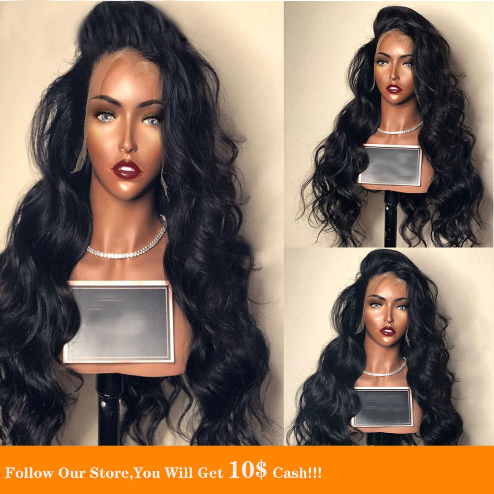 Colored 13X4 Lace Front Human Hair Wig Long Black Body Wavy Natural Hairline Soft Transparent Peruvian Hair Wig With Baby Hair