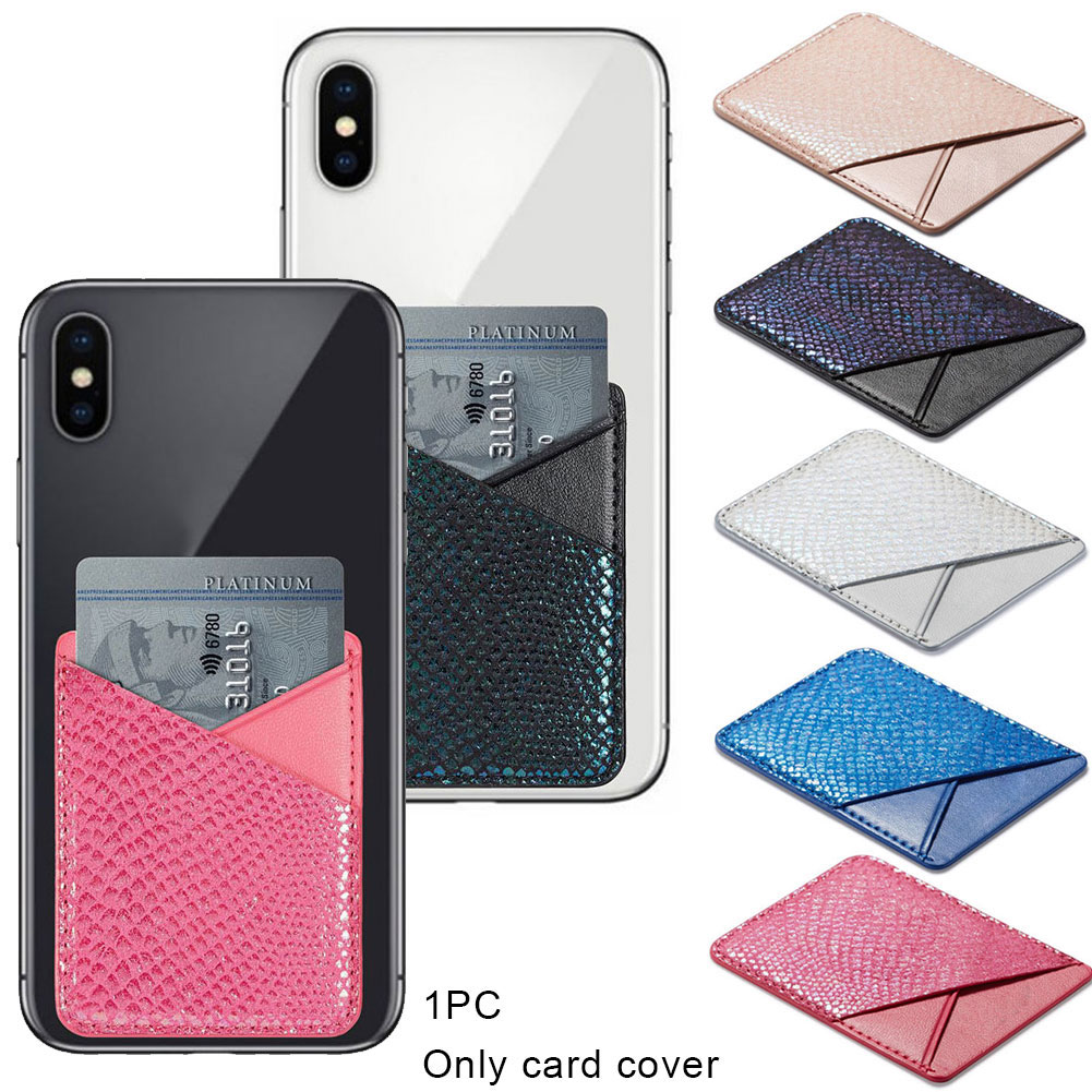 Fashion Credit Card Cell Phone Storage Pouch Wallet Stick-on Back Pocket Universal PU Leather Sticker Card Holder Adhesive