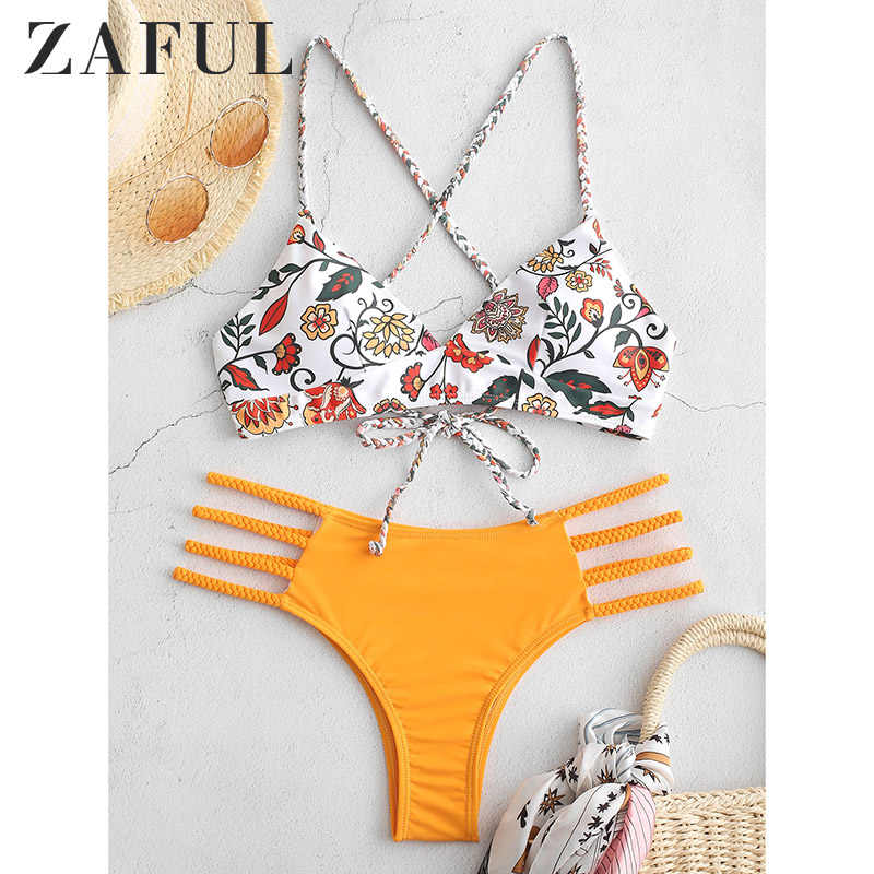 ZAFUL Low Waist Holiday Criss Cross Bikini Set Lace Up Bra And Briefs Sexy Elastic Wire Free Swimwear Flower Braided Padded