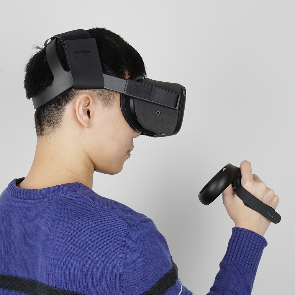 KIWI-design Headband Head Strap For Oculus Quest  With 1 Pair Knuckle Strap For Oculus Quest Virtual Controller Accessories