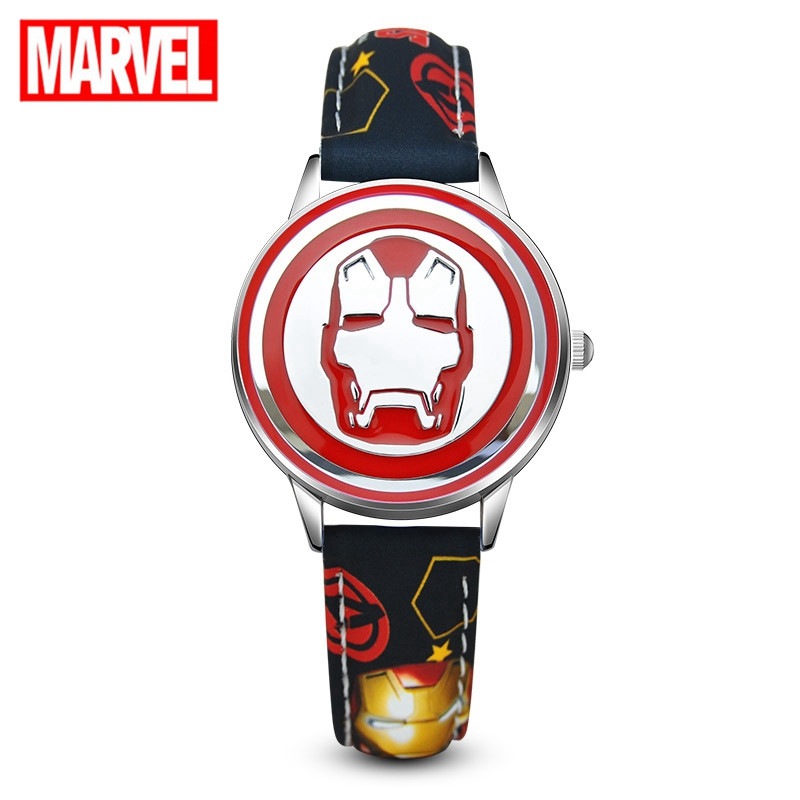 New Marvel Avenger Iron Man Stark Red Black Teenager Quartz PU Leather Watches Child Hero Dream Cartoon Disney Genuine Kid Watch