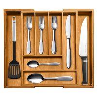 Environmental protection tray Bamboo Wood Cutlery Tray Drawer Utensil Organizer