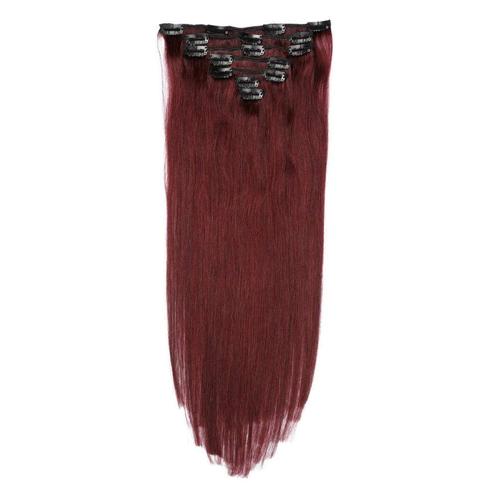 Hair Color-Clips Clip-In Remy Straight Brazilian 99J with Ship-Free 100g-160g One-Piece title=