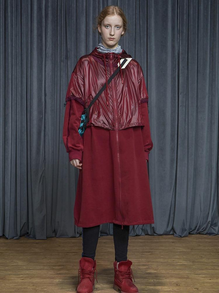 Осень Зима 2019 блестящая ткань Лоскутная Повседневная негабаритная Длинная толстовка пальто для женщин