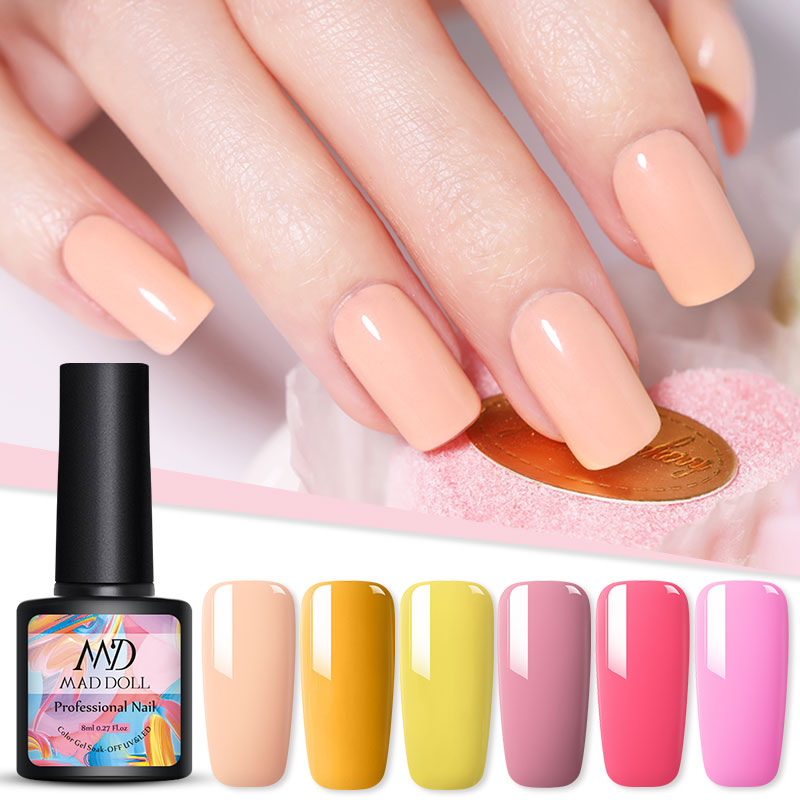 1 Bottle 8ml MAD DOLL Orange Series Color Gel Polish Soak Off UV Gel Manicuring Nail UV Gel Polish Nail Art DIY Nail Art Design