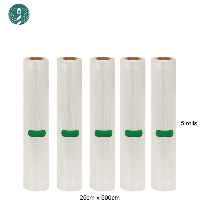 5 Rolls/Lot Vacuum Bag Heat Sealer Food Saver Paker Bags Saran Wrap Food Packing Storage Bags 25cm*500cm|Vacuum Food Sealers| |  - title=