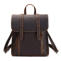 Men's bag vintage cow leather travel backpack