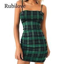 Rubilove Green Plaid Bodycon Dress Women 2019 Back Tie Cut Out Sexy Party Spaghetti Strap Summer Mini Dresses
