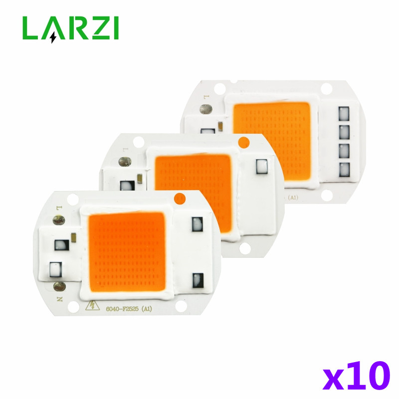 10pcs/lot Led Grow Chip 10W 20W 30W 50W 110V 220V Cob Grow Light Chip Full Spectrum For Indoor Plant Seedling Grow And Flower