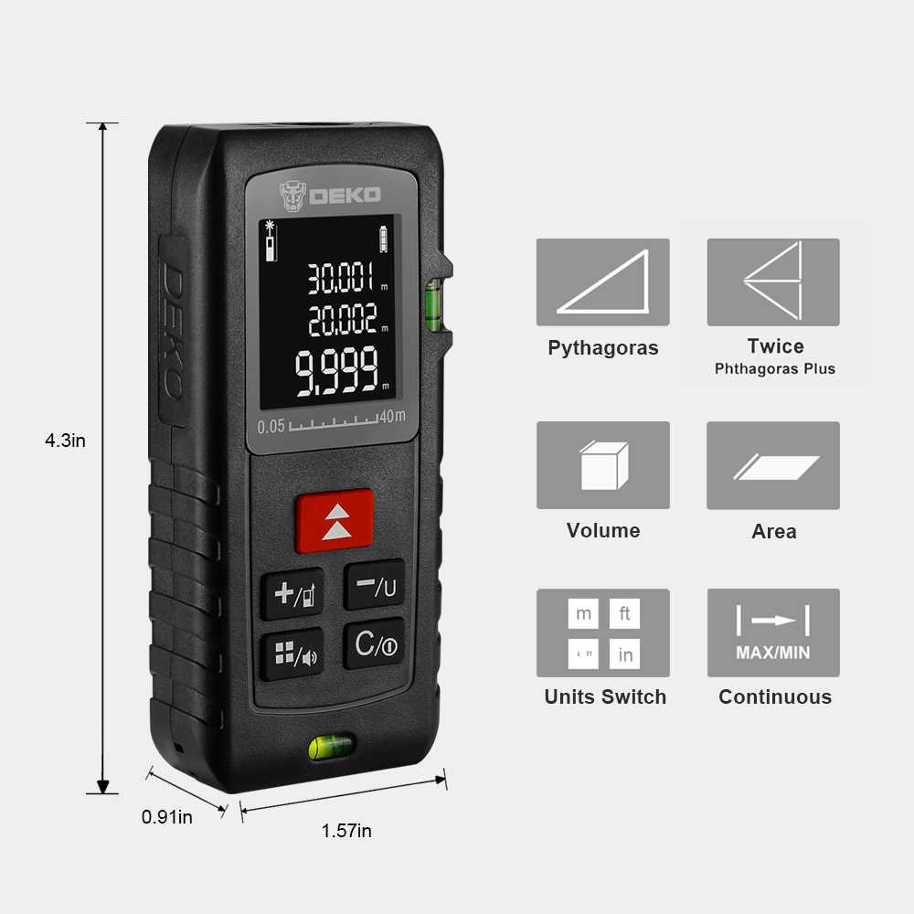 الأصلي DEKO LRE500 الليزر مقياس مسافات مقياس قياس 40 متر ميدور ترينا الرقمية Rangefinders الصيد الليزر أشرطة القياس